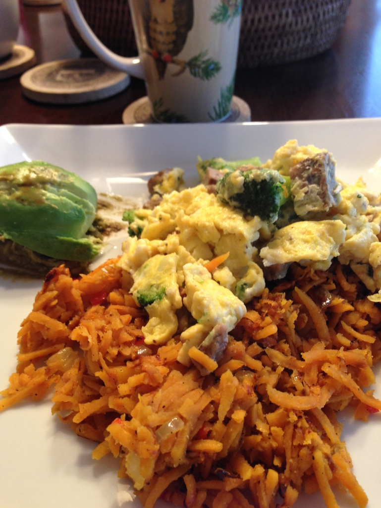 Sweet Potato Hash with sweet peppers and Onions. Turkey Sausage, Broccoli and Eggs scrambled with a side of Avocado.