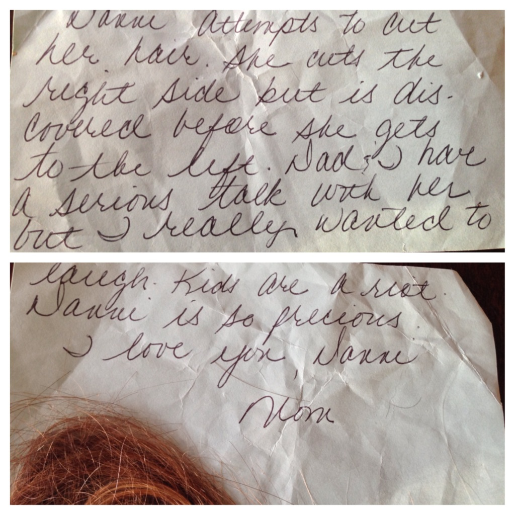 Note dated April 29.1991 and yes, that is my hair.