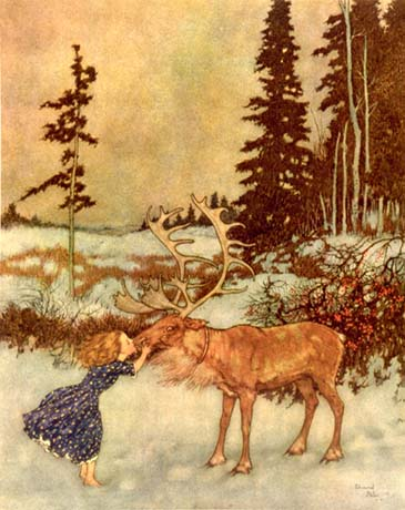 Edmund Dulac, Gerda and the Reindeer